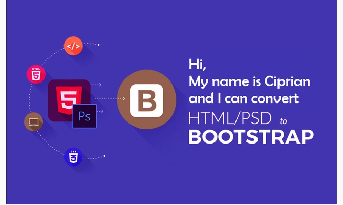 convert  PSD to HTML/Bootstrap 4